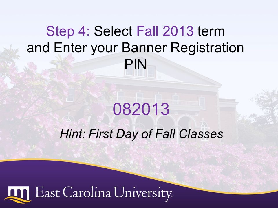 Step 4: Select Fall 2013 term and Enter your Banner Registration PIN