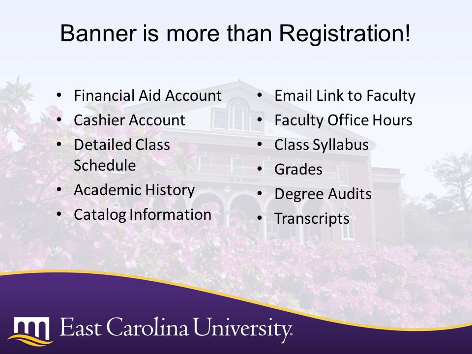 Banner is more than Registration!