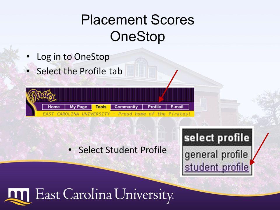 Placement Scores OneStop