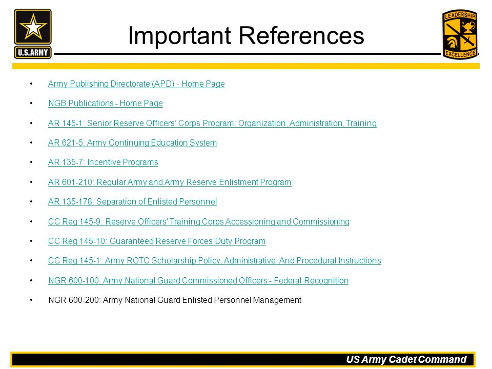 Important References Army Publishing Directorate (APD) - Home Page