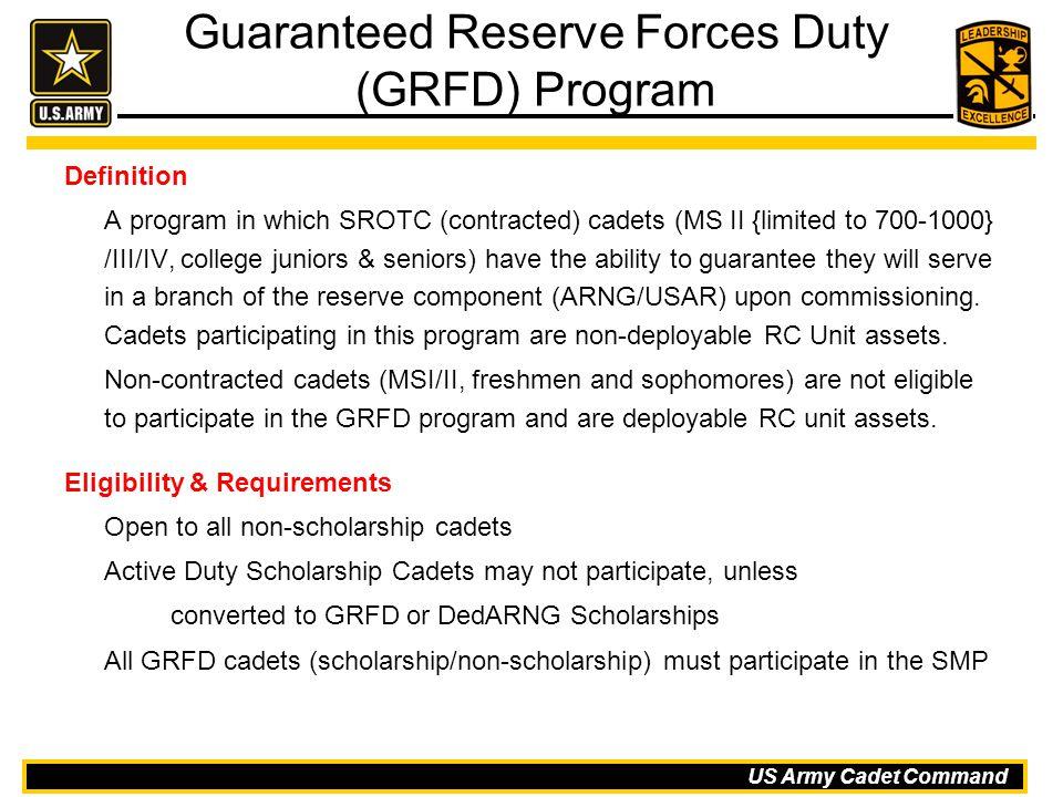 Guaranteed Reserve Forces Duty (GRFD) Program