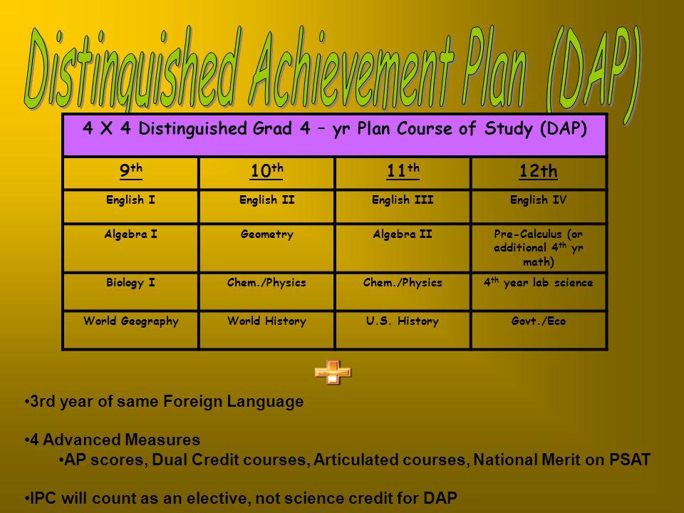 Distinguished Achievement Plan (DAP)