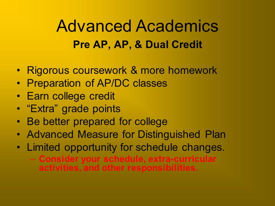Advanced Academics Pre AP, AP, & Dual Credit