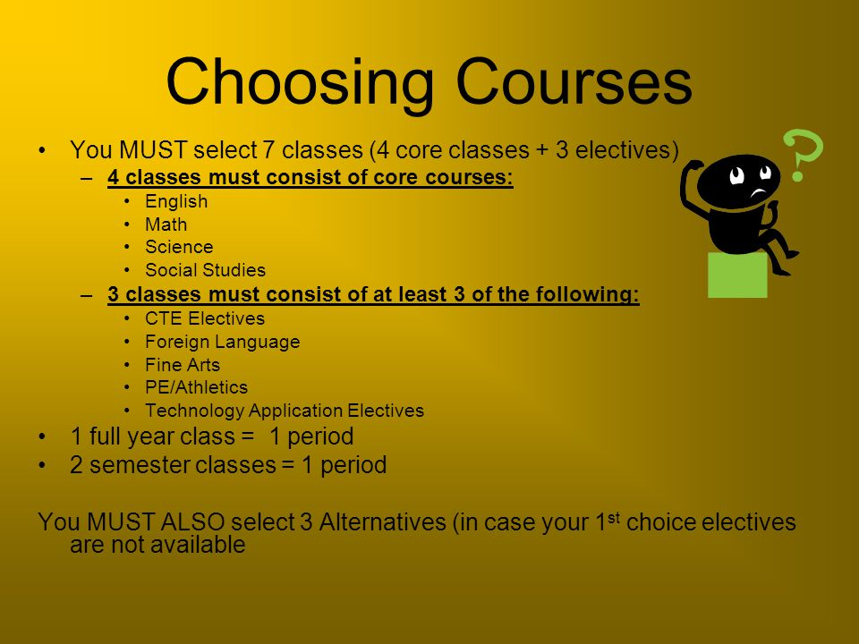 Choosing Courses You MUST select 7 classes (4 core classes + 3 electives) 4 classes must consist of core courses: