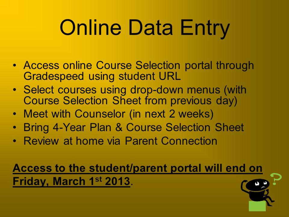 Online Data Entry Access online Course Selection portal through Gradespeed using student URL.