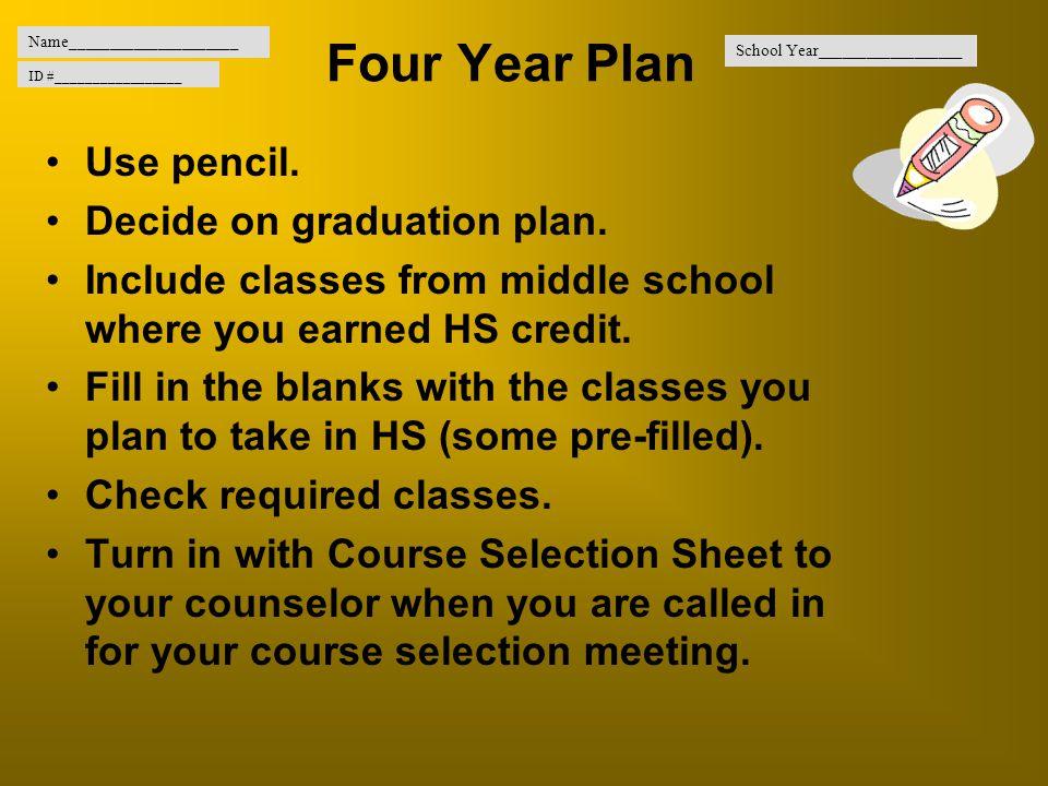 Four Year Plan Use pencil. Decide on graduation plan.