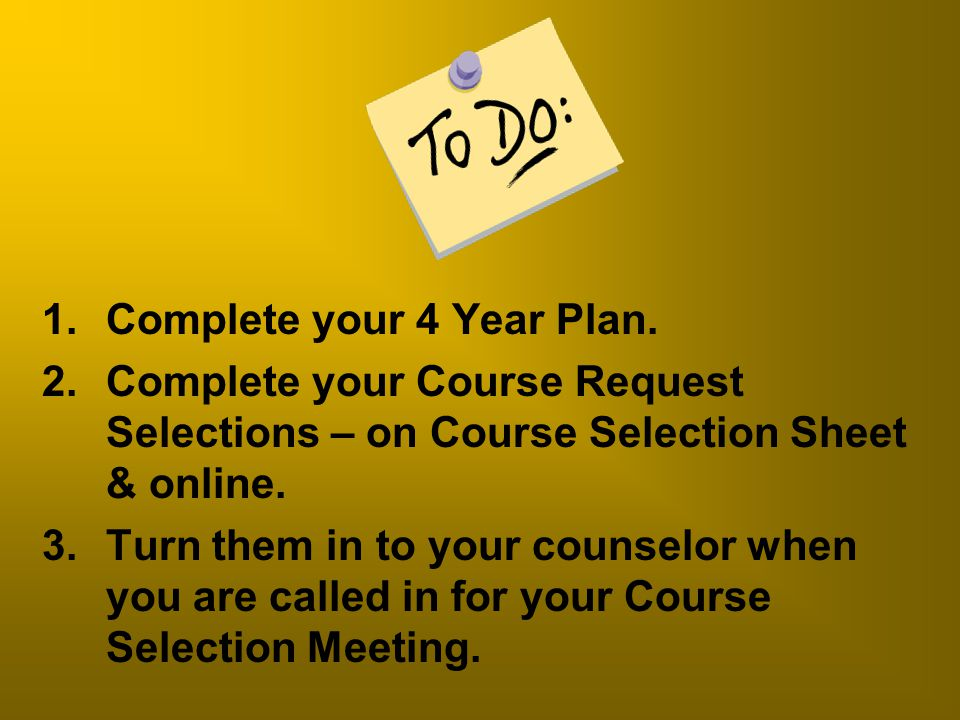 Complete your 4 Year Plan.