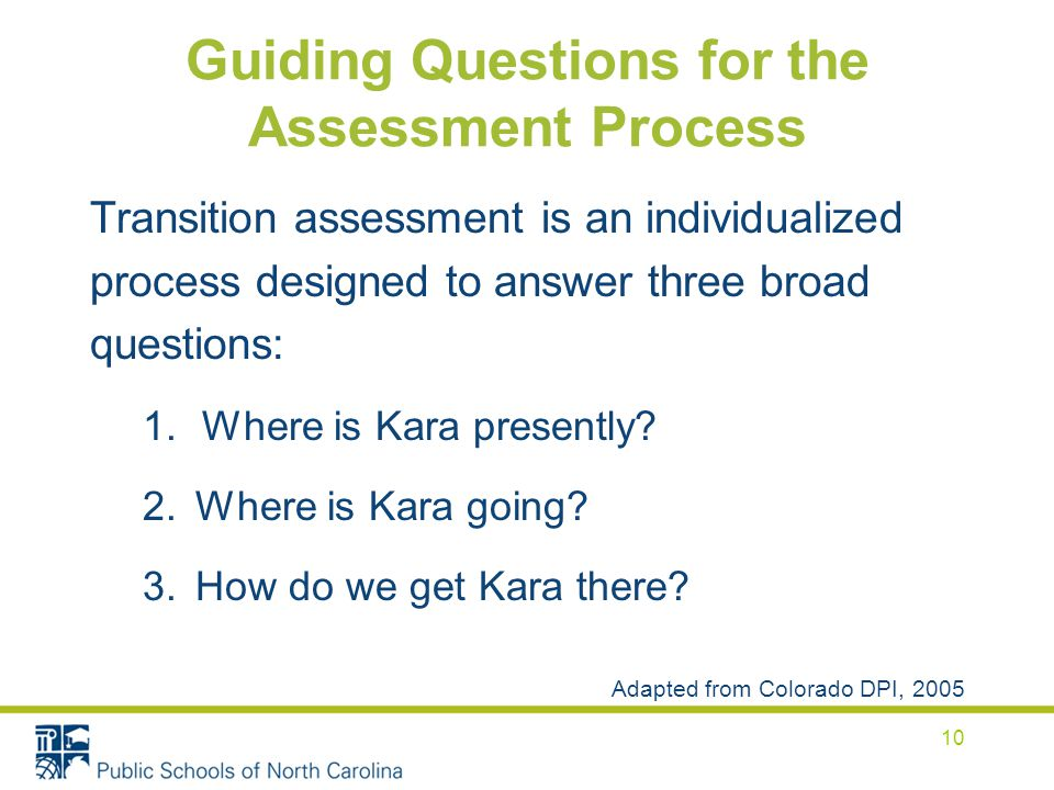 Guiding Questions for the Assessment Process