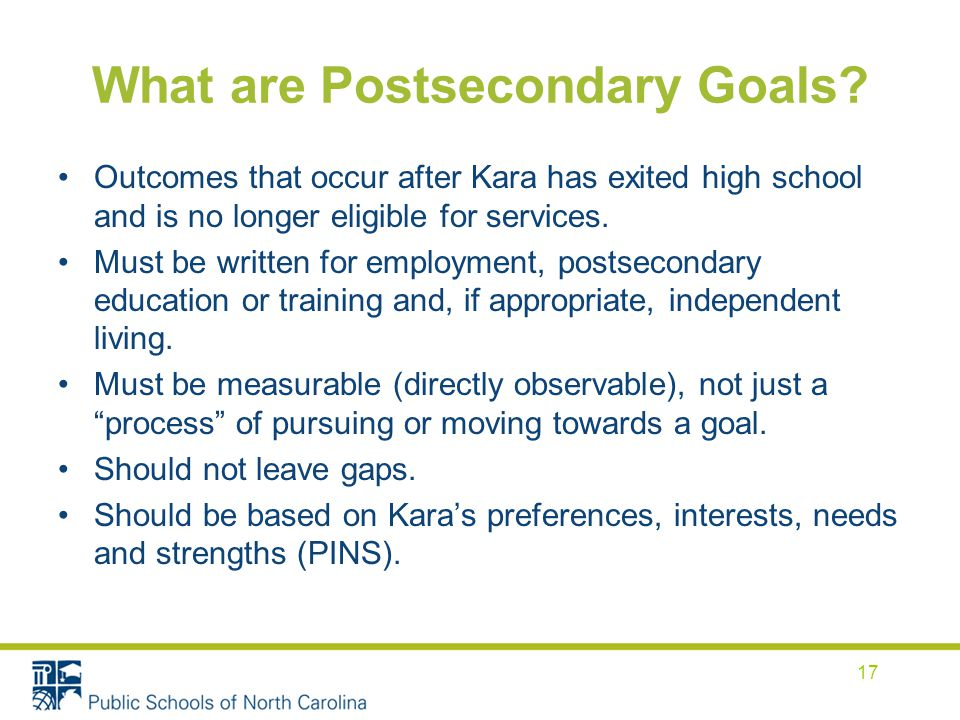 What are Postsecondary Goals