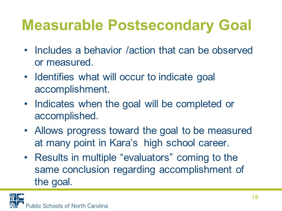 Measurable Postsecondary Goal