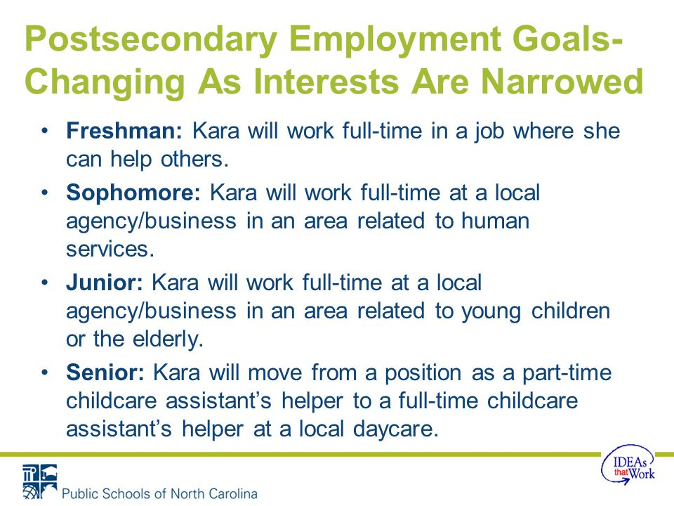 Postsecondary Employment Goals-Changing As Interests Are Narrowed