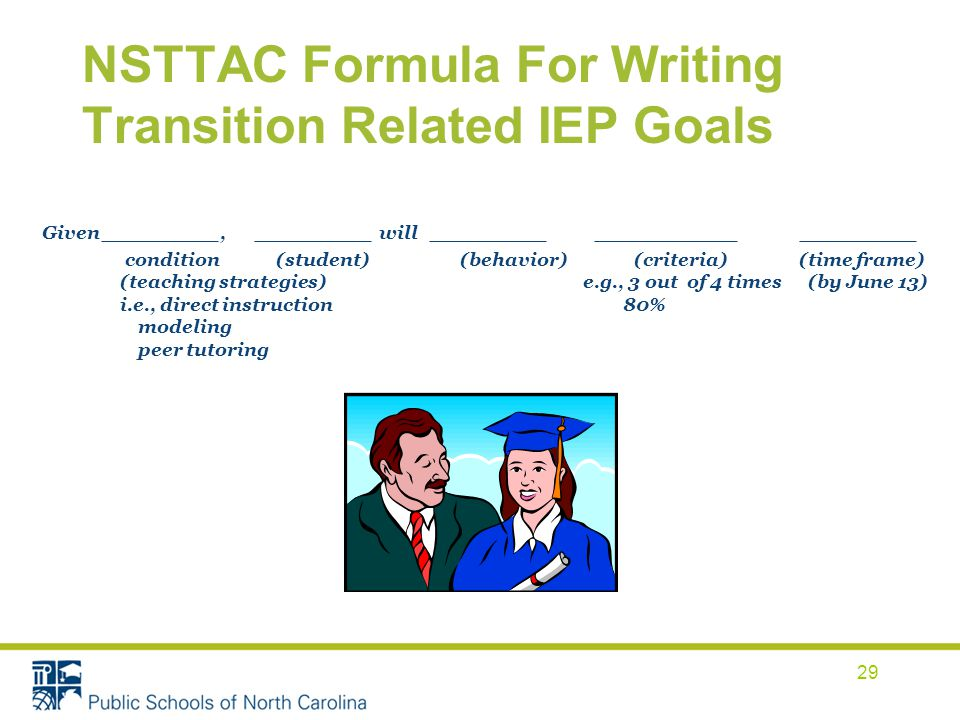 NSTTAC Formula For Writing Transition Related IEP Goals