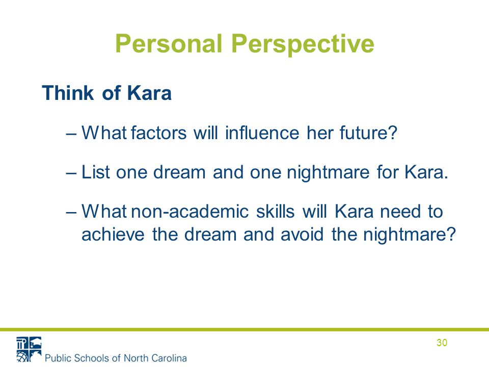 Personal Perspective Think of Kara