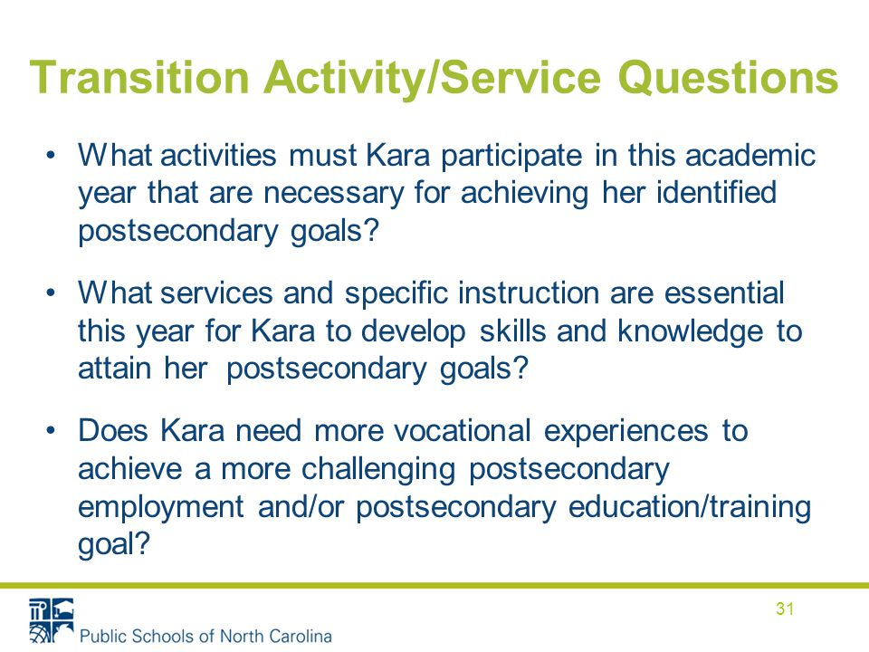 Transition Activity/Service Questions