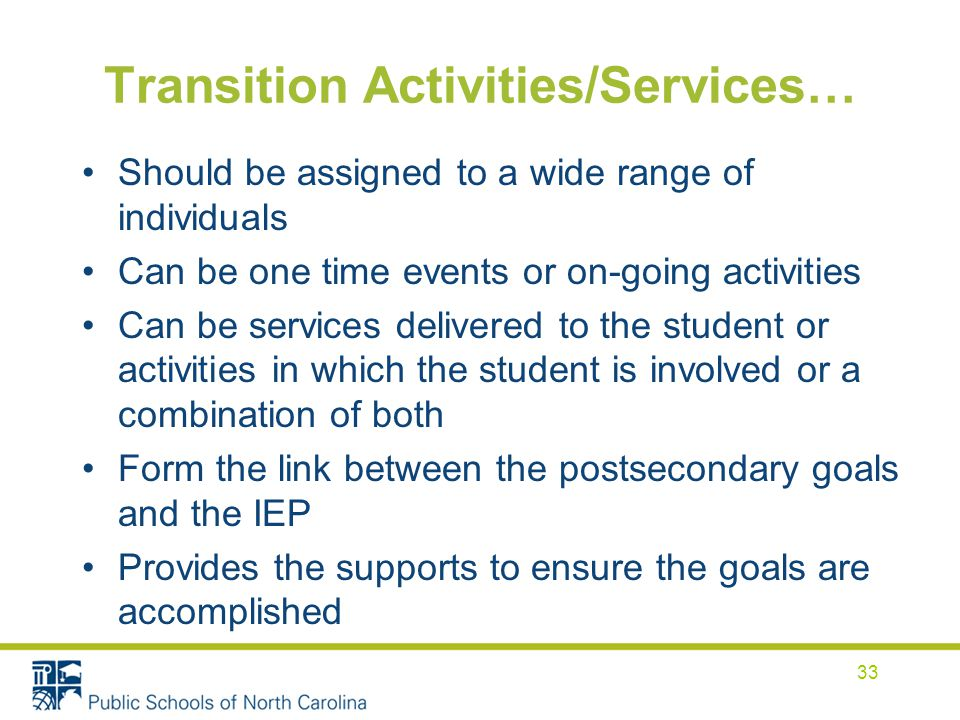 Transition Activities/Services…