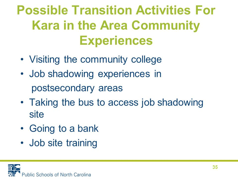 Possible Transition Activities For Kara in the Area Community Experiences