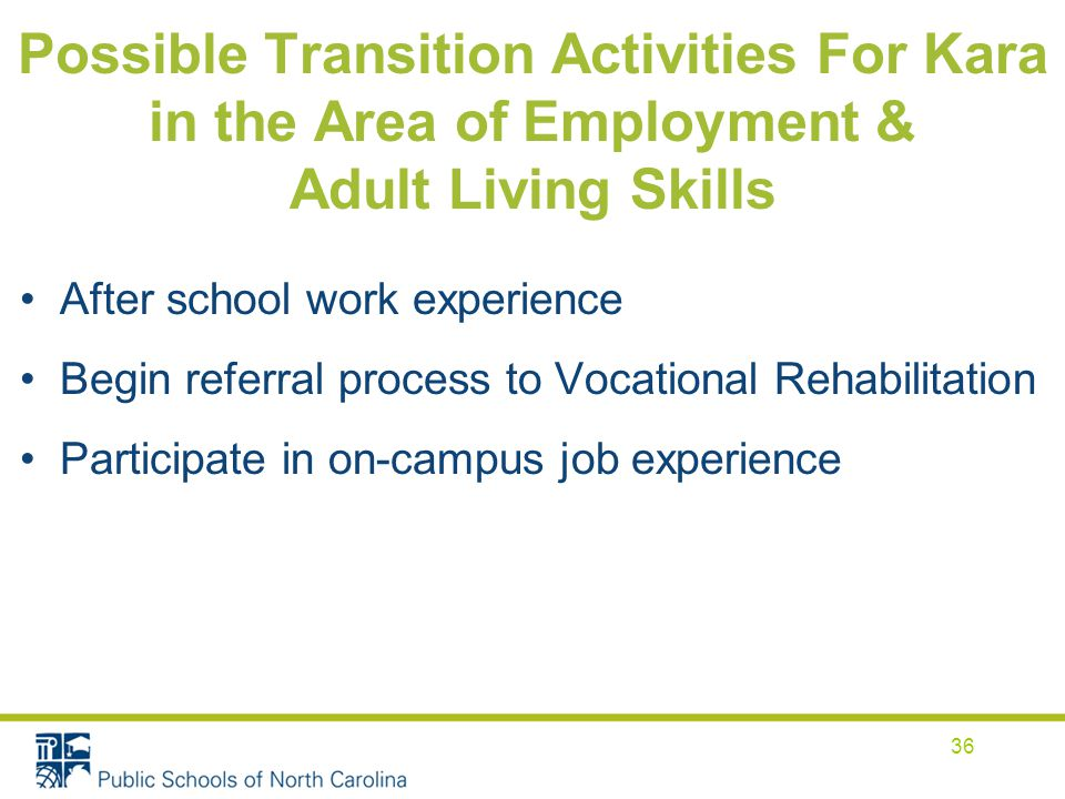 Possible Transition Activities For Kara in the Area of Employment & Adult Living Skills