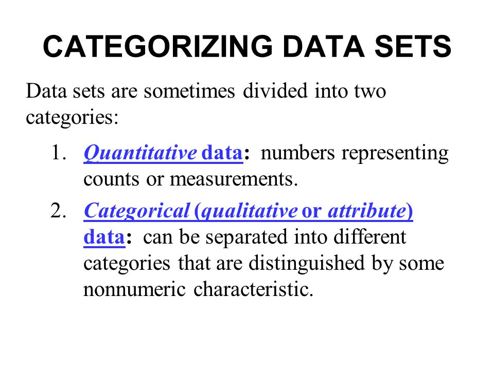 CATEGORIZING DATA SETS