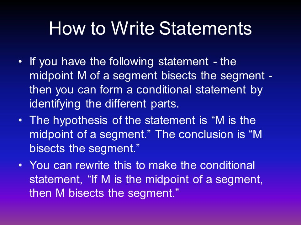 How to Write Statements
