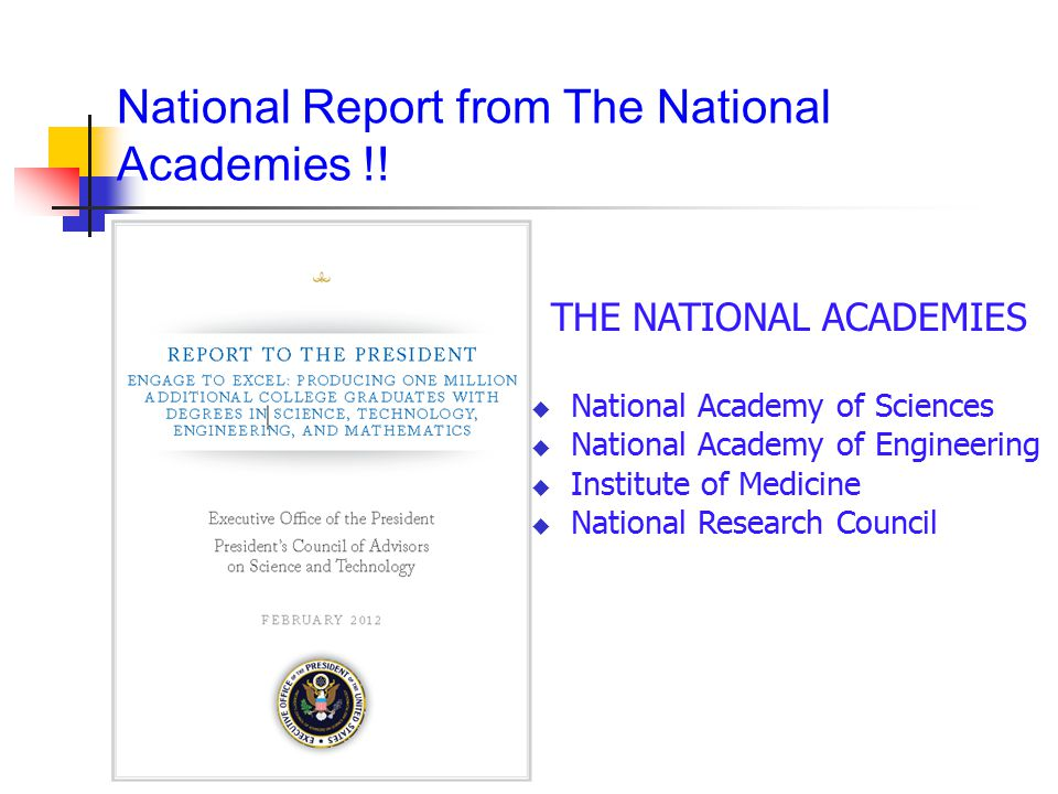 National Report from The National Academies !!