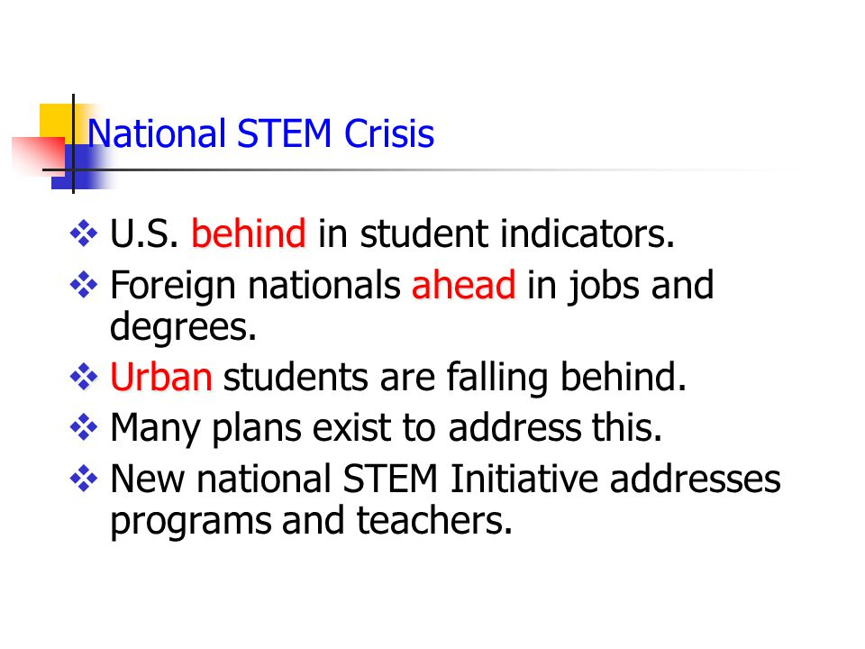 National STEM Crisis U.S. behind in student indicators. Foreign nationals ahead in jobs and degrees.
