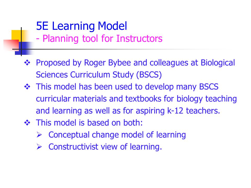 5E Learning Model - Planning tool for Instructors