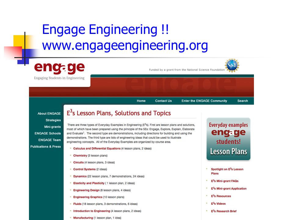 Engage Engineering !! www.engageengineering.org