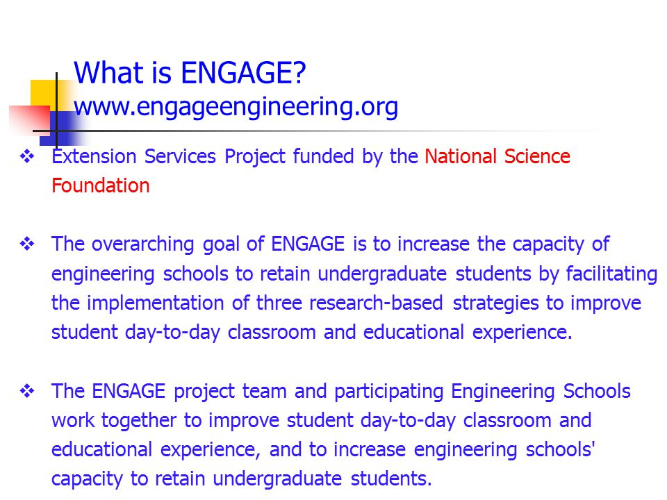 What is ENGAGE www.engageengineering.org