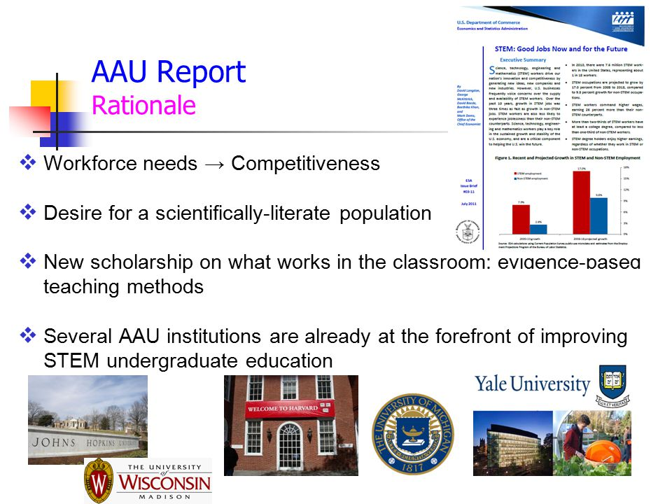 AAU Report Rationale Workforce needs → Competitiveness