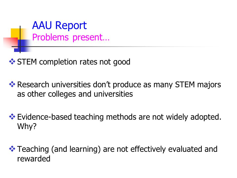 AAU Report Problems present…
