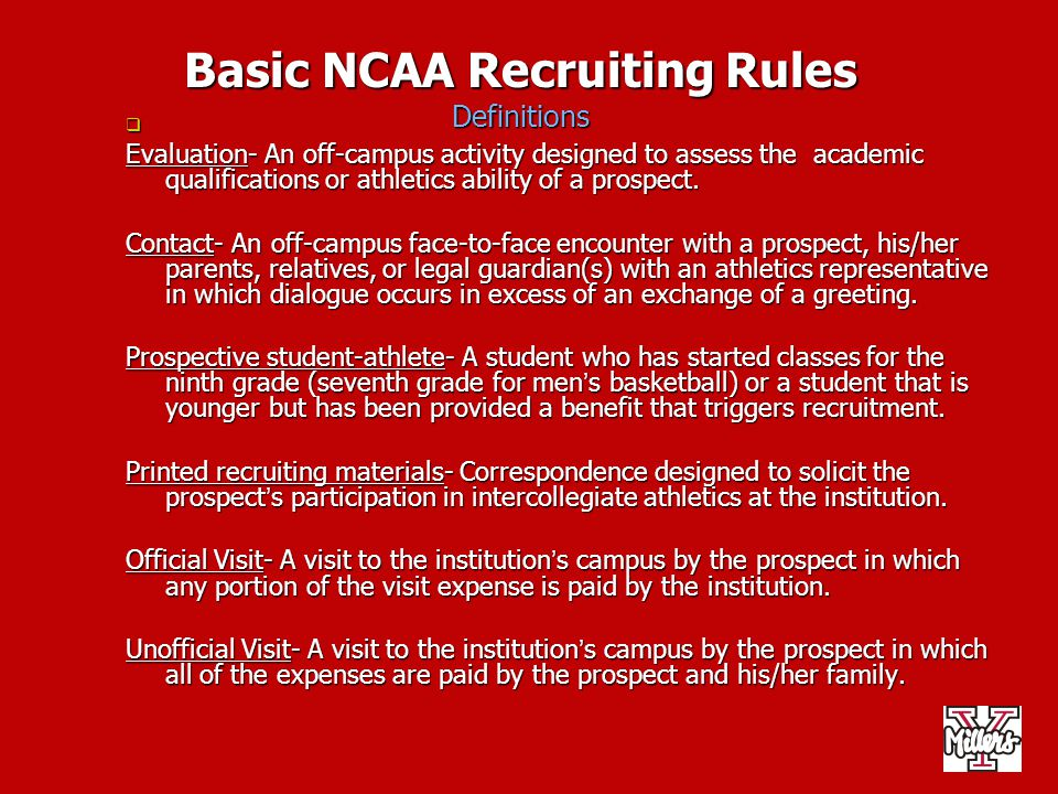 Basic NCAA Recruiting Rules Definitions