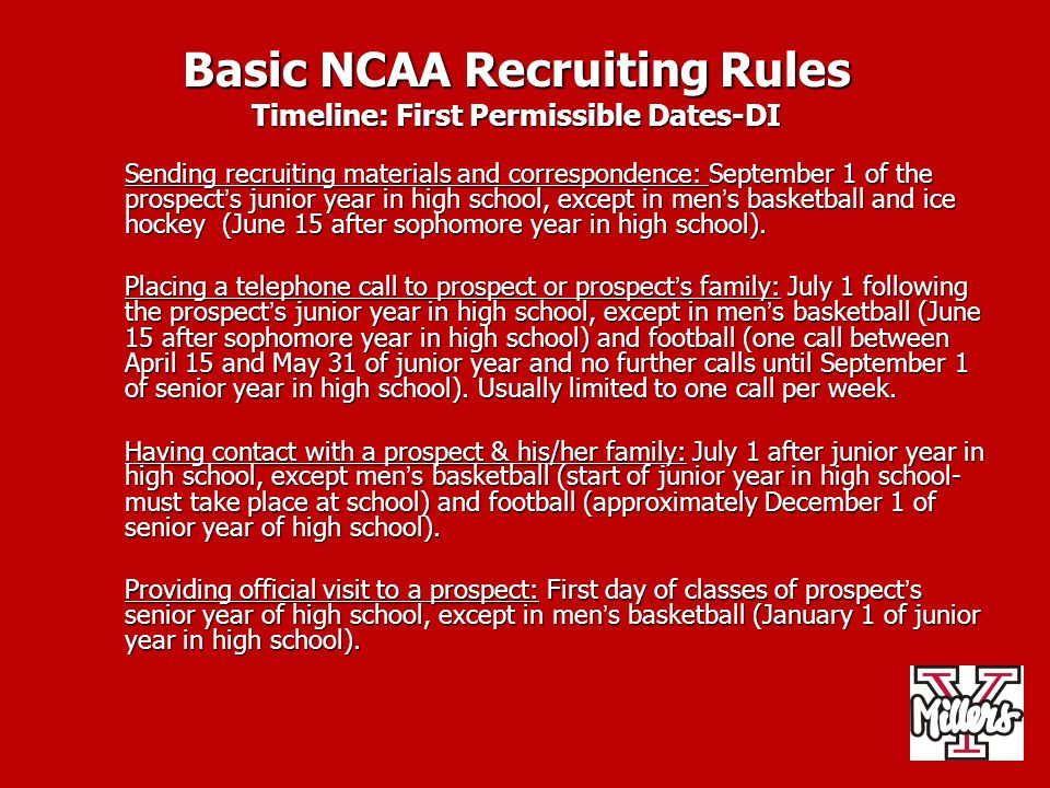 Basic NCAA Recruiting Rules Timeline: First Permissible Dates-DI