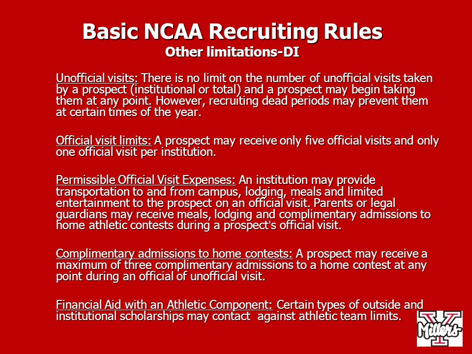 Basic NCAA Recruiting Rules Other limitations-DI