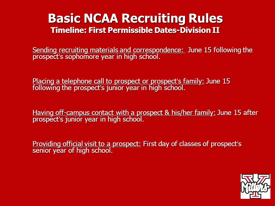 Basic NCAA Recruiting Rules Timeline: First Permissible Dates-Division II