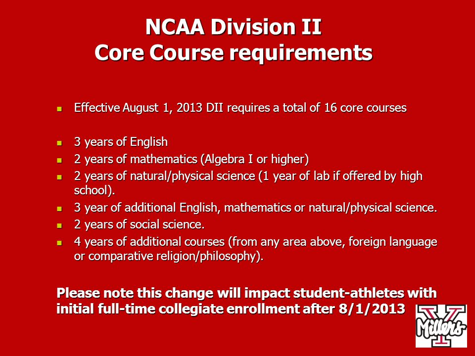 NCAA Division II Core Course requirements