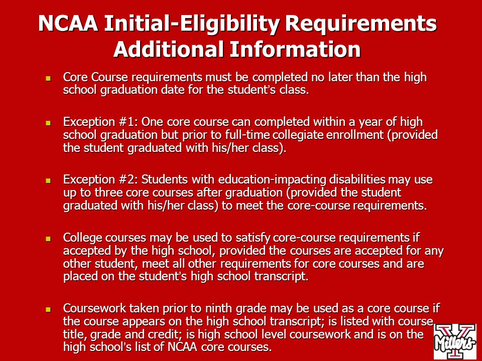 NCAA Initial-Eligibility Requirements Additional Information