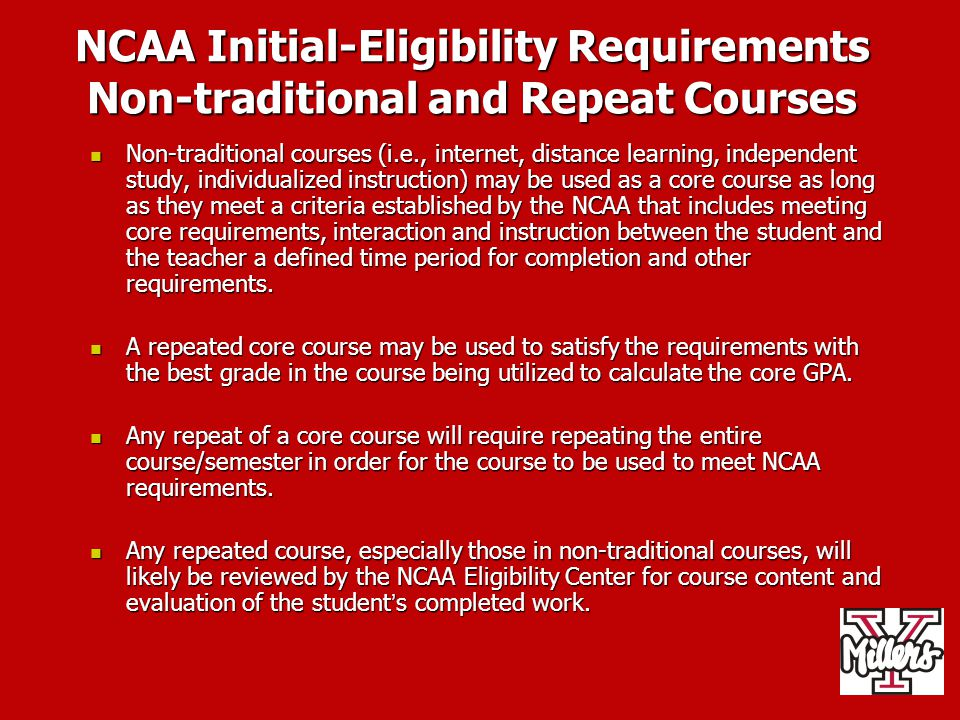 NCAA Initial-Eligibility Requirements Non-traditional and Repeat Courses