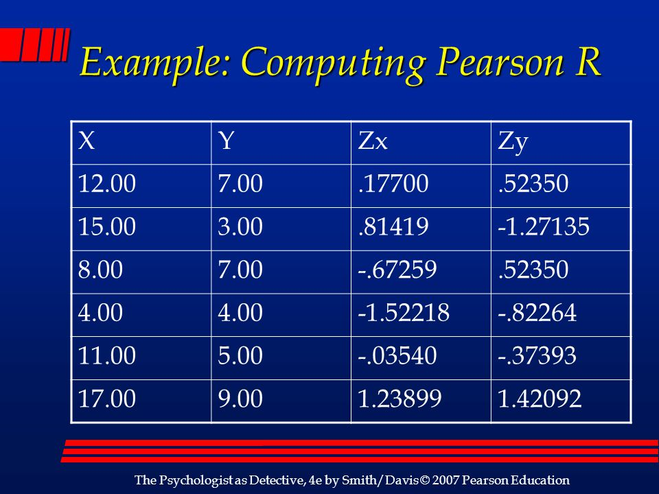 Example: Computing Pearson R