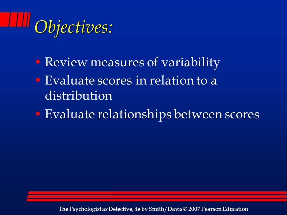 Objectives: Review measures of variability