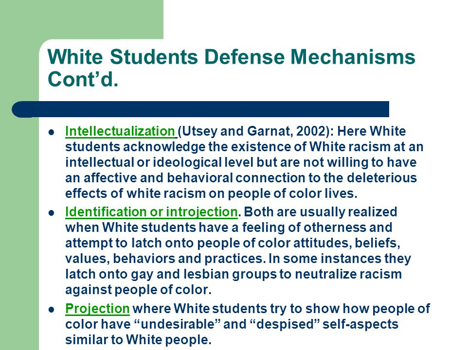 White Students Defense Mechanisms Cont'd.