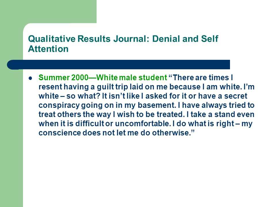 Qualitative Results Journal: Denial and Self Attention