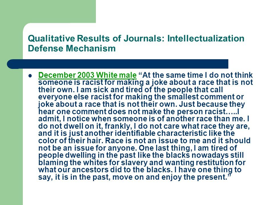 Qualitative Results of Journals: Intellectualization Defense Mechanism
