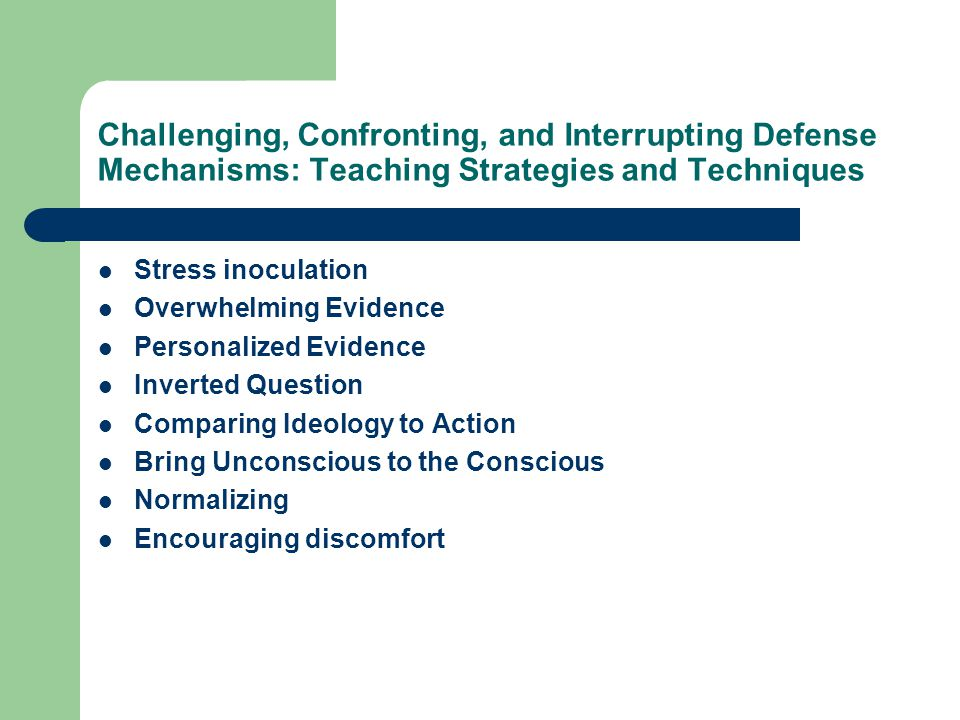 Challenging, Confronting, and Interrupting Defense Mechanisms: Teaching Strategies and Techniques