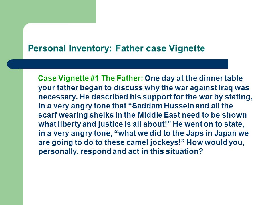 Personal Inventory: Father case Vignette