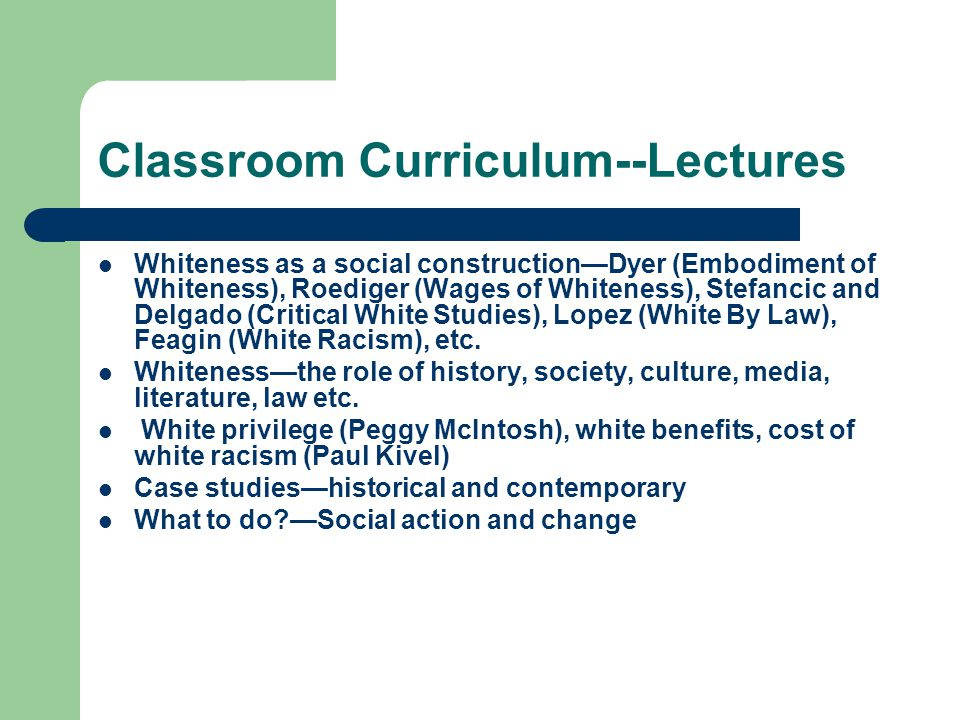 Classroom Curriculum--Lectures