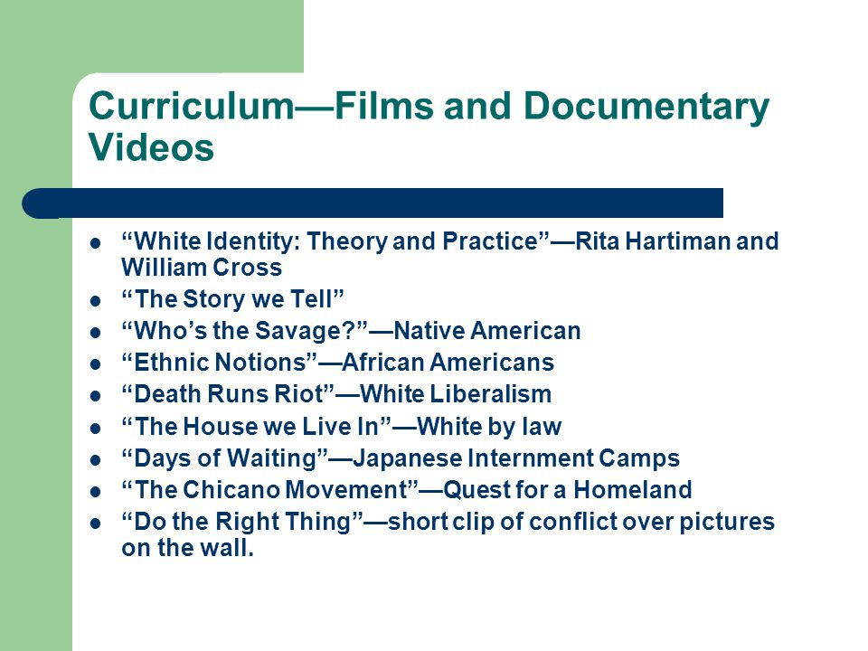 Curriculum—Films and Documentary Videos