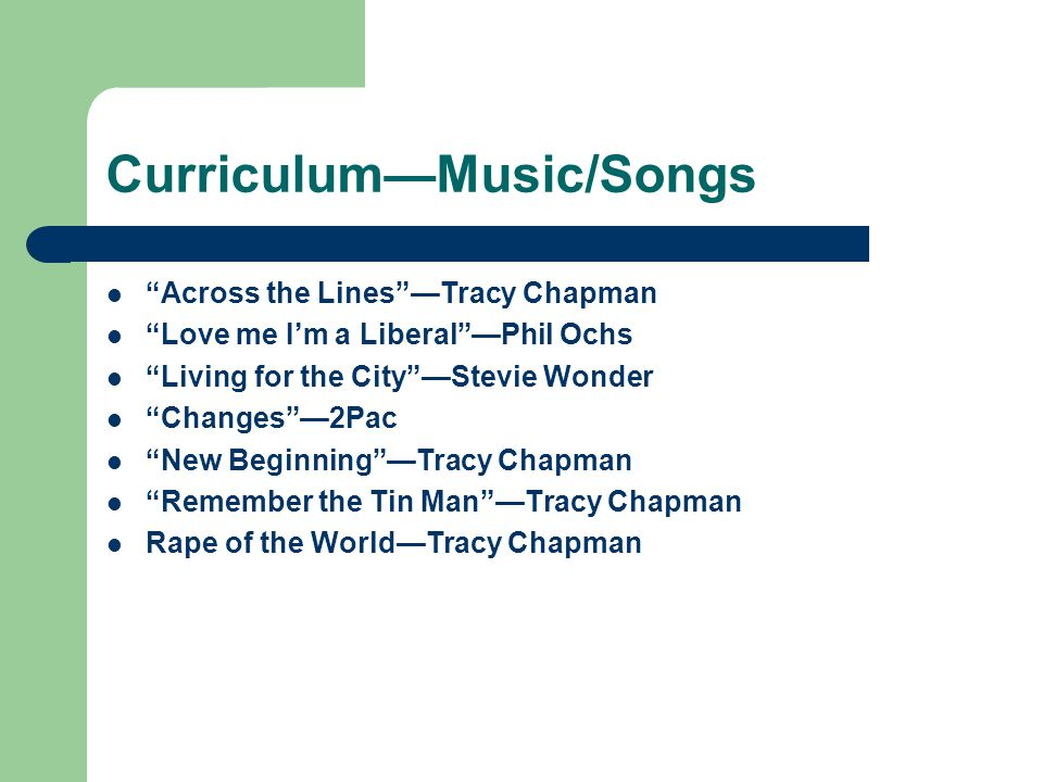 Curriculum—Music/Songs