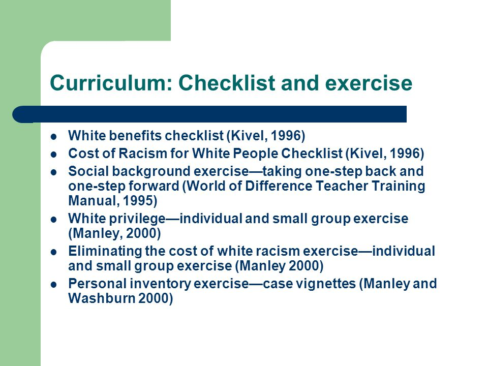 Curriculum: Checklist and exercise