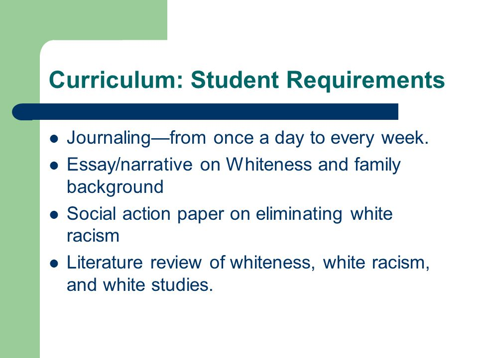Curriculum: Student Requirements