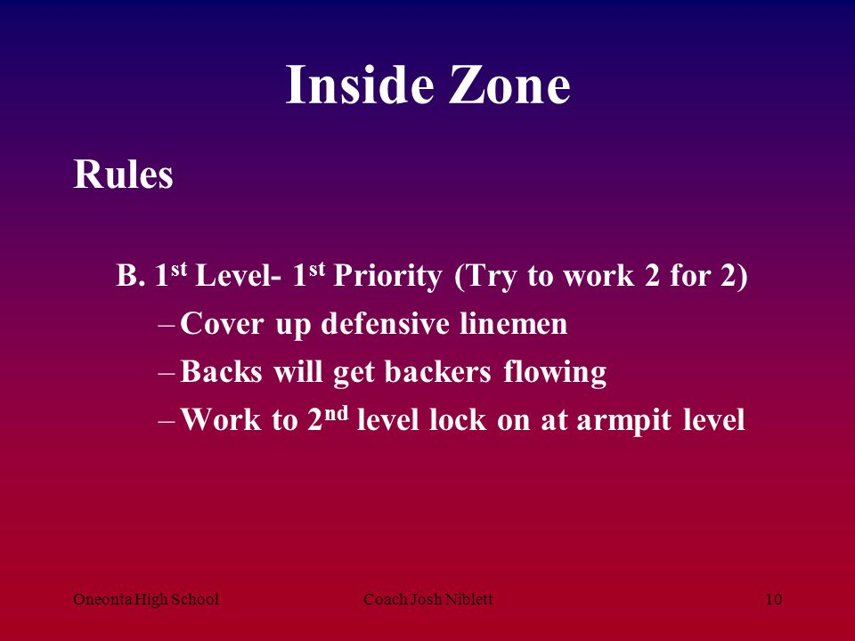 Inside Zone Rules B. 1st Level- 1st Priority (Try to work 2 for 2)